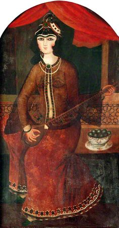 Lady Playing a Stringed Instrument  by Persian (Qajar) School  Government Art Collection  Date painted: c.1820–1830  Oil on canvas, 161 x 84 cm