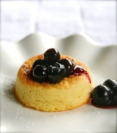 Almond teacakes with blueberry sauce