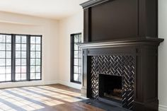 10 Powerful Clever Tips: Living Room Remodel With Fireplace Spaces small living room remodel apartments.Small Living Room Remodel Organization Ideas living room remodel with fireplace products.Living Room Remodel With Fireplace Basements. Subway Tile Fireplace, Herringbone Fireplace, Herringbone Tile, Fireplace Wall, Living Room With Fireplace, Fireplace Design, Fireplace Trim, Black Fireplace Mantels, Black Fireplace Surround