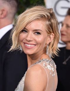 Sienna Miller's Carefree Bob - just a few inches higher in the back. Worn sleek and sophisticated or choppy and tousled, the bob is a versatile option that doesn't require a ton of volume. (Texturizing spray is your best friend.) Read more: The Best Haircuts for Thin Hair | PureWow