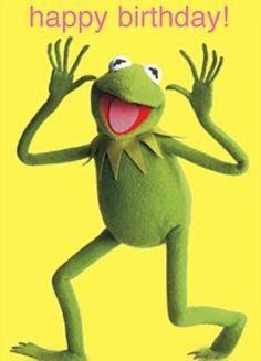 Afbeeldingsresultaat voor kermit the frog happy birthday images Happy Birthday Vintage, Birthday Wishes Quotes, Happy Birthday Funny, Happy Birthday Images, Birthday Messages, Birthday Pictures, Happy Birthday Wishes, Funny Happy, Caco E Miss Piggy