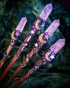 Cosmic Moonchild hair stick/magical Scepters coming into creation for local Witches to adorn their locks and cast their spells with 😉✨ Find… Magick, Witchcraft, Wiccan Wands, Witch Wand, Wizard Wand, Magical Jewelry, Diy Wand, Witch Aesthetic, Book Of Shadows