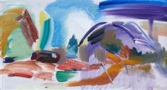 Artwork by Ivon Hitchens, Landscape with a caravan and apple trees, Made of oil on canvas