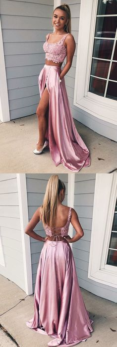 Two Piece Square Lace-Up Pink Split Prom Dress with Lace Pockets Prom Dress Two Piece, Prom Dress, Pink Prom Dress, Lace Prom Dress Prom Dresses 2019 Split Prom Dresses, Prom Dresses Two Piece, Prom Dresses For Teens, Grad Dresses, Two Piece Dress, The Dress, Homecoming Dresses, Evening Dresses, Dress Lace