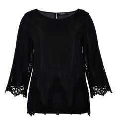 Hallhuber Blouse with lace detailing ($115) ❤ liked on Polyvore featuring tops, blouses, black, women, button blouse, sleeve shirt, 3/4 sleeve button down shirt, three quarter sleeve shirts and split neck blouse