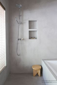 remodeling ideas bathroom is certainly important for your home. Whether you pick the small bathroom storage ideas or bathroom remodel shiplap, you will create the best remodeling bathroom ideas for your own life. Concrete Shower, Concrete Bathroom, Bathroom Flooring, Concrete Wall, Grey Bathrooms, Modern Bathroom, Small Bathroom, Minimalist Bathroom, Luxury Bathrooms