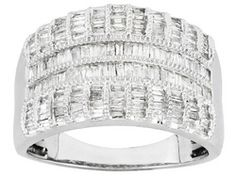 Diamond 1.00ctw Baguette Rhodium Over Sterling Silver Ring Eav $400.00   i want this one lol it has stretch pay!!