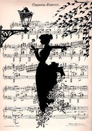 Ink on old sheet music? I think so. Another art project to try.