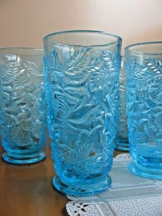 Electric Blue Footed Iced Tea LOT 8  Wild Rose FENTON Glass L G Wright Vintage #Fenton
