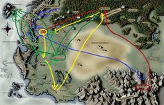 Eragons travels! Blue= Eragon (book 1) Red= Eldest (book 2) Yellow= Brisingr (book 3) Green= Inheritance (book 4)