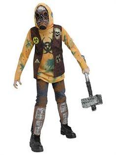 Boys Post-Apocalyptic Warrior Costume - PartyBell.com Spooky Halloween Costumes, Halloween 2018, Tornado Costume, Zombie High, Headless Man, Reaper Costume, Haunted Tree, Boy Post, Horror Costume