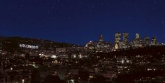 hollywood sign at night images | Stock Photo - Hollywood hills with Hollywood sign and stars at night