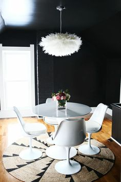 Dining Room | Tulip Table | Tulip Chairs | Black Paint | Dark Rooms | Home Decorating | Interior Design
