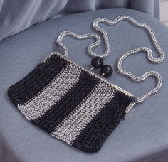 Silver and Black Stripe Chainmail Purse