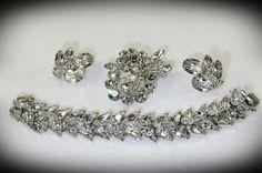 Vintage EISENBERG Parure Bracelet Brooch Earrings Swarovski Crystal Rhinestones #Eisenberg