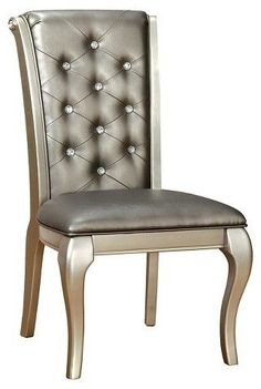 Furniture of America ioHomes Samantha Tufted Scrolled Back Side Dining Chair - Silver (Set of 2)