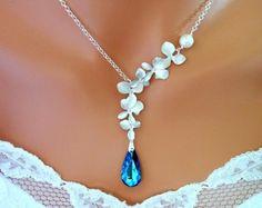 Bermuda Blue Peacock Orchids Necklace, Wedding Necklace, Blue Wedding