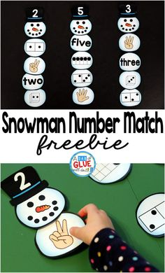 Snowman Number Match Printable is a great addition to your math centers this winter season. This free printable is perfect for preschool, kindergarten, and first grade students.