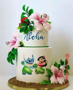 50 Lilo and Stitch Cake Design (Cake Idea) - October 2019 Hawaiian Birthday Cakes, Birthday Party Desserts, Adult Birthday Cakes, Luau Birthday, Disney Birthday, Hawaiian Cakes, Birthday Ideas, Disney Desserts, Cute Desserts