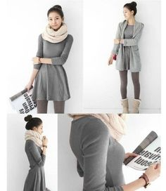 Fashion Women Korean Style Solid Plain Soft Long Sleeve Mini Dress Skirts | eBay