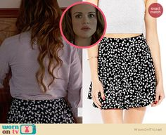 65edb0eacc Lydia s black and white floral skirt on Teen Wolf. Outfit Details  http