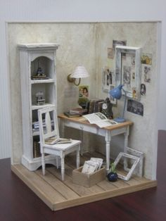 Miniature Room Box - The Den Vitrine Miniature, Miniature Rooms, Miniature Houses, Miniature Furniture, Dollhouse Furniture, Dollhouse Miniatures, Minis, Doll Houses, Shabby Chic