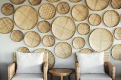 Home Design:Asian Decor, Tropical Home With Balinese Themed Ideas Unique Balinese Decor With Round Bamboo Wall Decor And Brown Wicker Armchairs With White Cushions And Round Brown Wood Side Table
