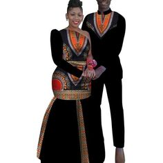 African Couples Sets Man And Women Matching Dashiki Print Clothing African Wedding Attire, African Attire For Men, African Clothing For Men, African Women, Couples African Outfits, Couple Outfits, South African Traditional Dresses, Short African Dresses, Kente Styles