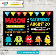 Monster Birthday Party Invitation / DIY Party by PapaCrabPaperie, $12.00