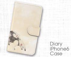 ハンドメイドマーケット minne(ミンネ)| アリクイの絵の手帳型スマホケース《iPhoneケース》動物