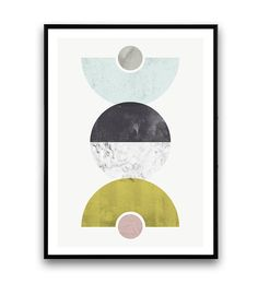 Geometrische print marmer kunst aan de muur cirkel door Wallzilla