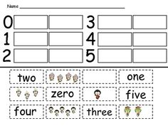 In this packet of 4 student practice pages, students cut out number words and sets of objects and match them to the correct number.    There are four student practice pages; two focus on the words zero, one, two, three, four, and five. The other two pages focus on the words five, six, seven, eight, nine, and ten. $