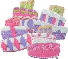 Pretty cake cookies decorated by Marlyn Birmingham.
