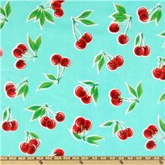 Oil Cloth Stella Cherries Aqua  Item Number: DH-319  Our Price: $6.98 per Yard    For the Kitchen Table!