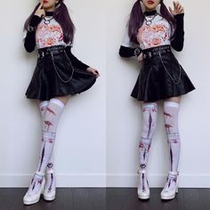 Wearing some super cute spoopy items today from an amazing artist. 👻 The t-shirt and thigh highs are designed & bought from Pastel Goth Fashion, Dark Fashion, Kawaii Fashion, Lolita Fashion, Cute Fashion, Style Outfits, Edgy Outfits, Pretty Outfits, Cool Outfits