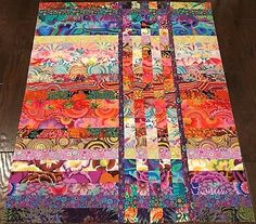 "KAFFE FASSETT ~ Strip & Flip ~ Quilt Top 40 1/2"" X 49"" Made in NC"