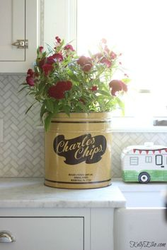 Charles Chip vintage tin planter http://eclecticallyvintage.com