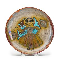 Beatrice Wood (1893-1998) - Small glazed earthenware plate decorated with figure, Ojai, CA, 1940s