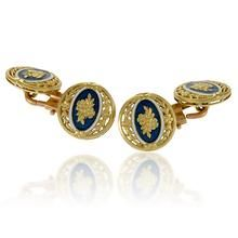 Durand French Art Nouveau Enamel and Gold Cuff Links