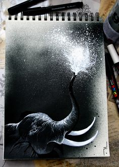 pauladuta Refreshing sower for my sketchbook elephant.