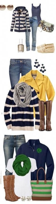 Cozy Fall Outfits, time to get knitting on infinity scarves for fall! Looks like green and grey are very popular this year