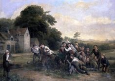 The Football Game - 1839  Painting by Thomas Webster