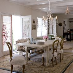 Inspired by Shabby Chic: love the bench and chair covers