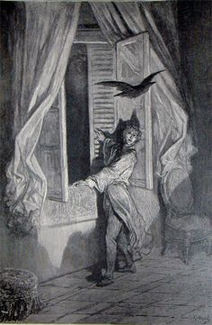 Gustave Doré's illustration to Edgar Allan Poe's The Raven.