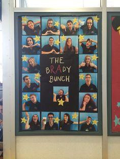 The bRAdy Bunch (staff introduction) board Teacher Morale, Staff Morale, Staff Bulletin Boards, Huddle Board, Ra Jobs, Staff Lounge, Teacher Lounge, Ra Bulletins, Staff Room