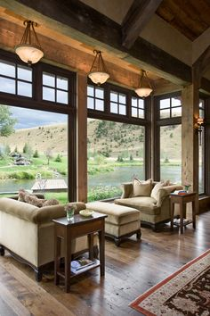Log and Timber frame home designed by Locati in Montana! Love the big windows Big Windows, Floor To Ceiling Windows, Wall Of Windows, Living Room With Windows, Transom Windows, Ceiling Height, Cabin Homes, Log Homes, Style At Home