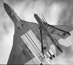 British fighter-interceptor English Electric Lightning and strategic bomber Avro Vulcan; Military Jets, Military Aircraft, Fighter Aircraft, Fighter Jets, Photo Avion, War Jet, V Force, Avro Vulcan, Aircraft Photos