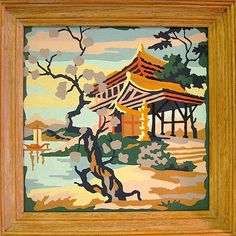 1960s Paint by Number, Japanese pagoda