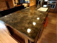 Supreme Kitchen Remodeling Choosing Your New Kitchen Countertops Ideas. Mind Blowing Kitchen Remodeling Choosing Your New Kitchen Countertops Ideas. Stained Concrete Countertops, Acid Stained Concrete, Outdoor Kitchen Countertops, Kitchen Countertop Materials, Diy Countertops, Concrete Floors, Countertop Options, Granite Overlay Countertops, Faux Granite