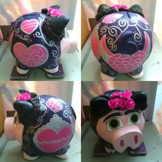 Alcancia de frida kalho ceramica Pig Bank, Mini Pigs, Paper Mache, Mother Day Gifts, Christmas Ornaments, Halloween, Holiday Decor, Projects, Country